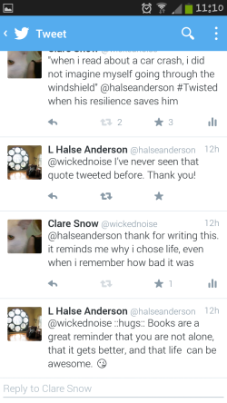 hugs from L. Halse Anderson